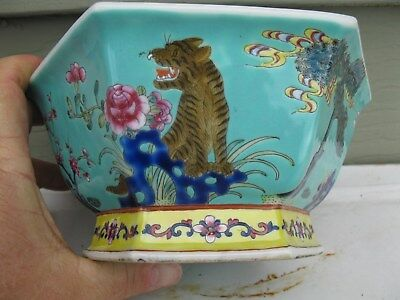 chinese famille rose bowl republic signed tiger dogs