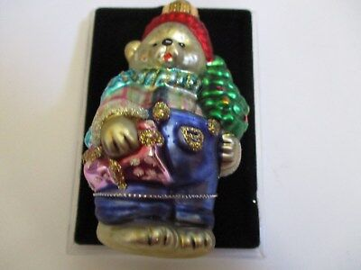 handcrafted TEDDY BEAR with GLITTER CHRISTMAS GLASS ORNAMENT new in org box age?