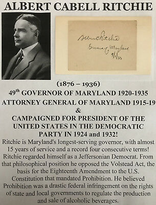 Governor Maryland Attorney General President Candidate 1924/32 Autograph Signed!
