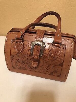Vintage Force Ten Brown Purse Satchel Hand Tooled  Leather bag