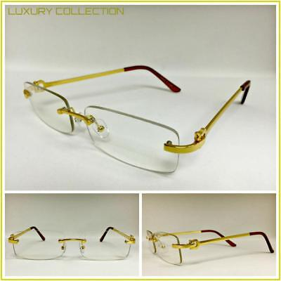0fcac669d5 Mens Classy Sophisticated Luxury Style Clear Lens EYE GLASSES Gold Rimless  Frame