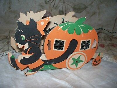 Vintage Halloween Candy Box With Black Cat & Jol Coach- Used-Very Colorful
