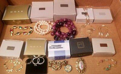 Vintage Lot of 10 Avon Necklace Bracelet Pin Ring Pearl Love RC New in box
