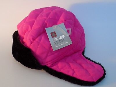 e6a5f4e00 SWISS TECH TRAPPER Hat Quilted Electric Pink Winter Girls Youth One ...