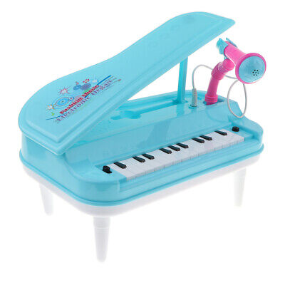 Kids 23-Key Mini Simulation Electric Keyboard Piano Toy with Microphone Blue
