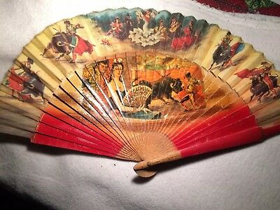 ANTIQUE COLORFUL SPANISH BULL FIGHT SCENE Flamenco Dancers HAND FAN W/WOOD RIBS