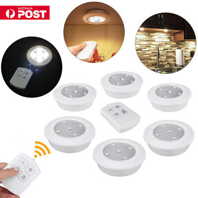 6x Wireless Remote Control Battery Operated Under Cabinet Kitchen SMD LED Lights