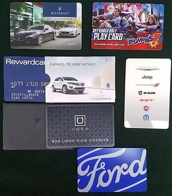 Collection Of 6 Auto Car Related All Diferent Plastic Cards Lot +20$ Uber Card