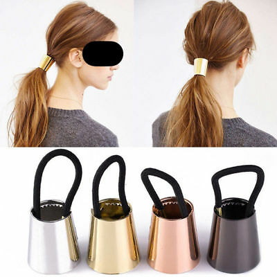 Chic Woman Metal Elastic Ponytail Holder Hair Cuff Wrap Tie Band Ring Rope HOT