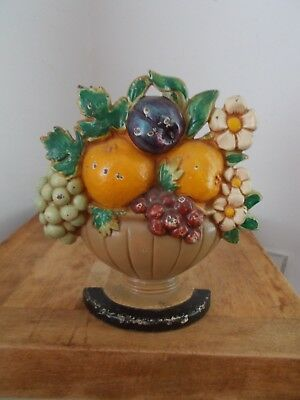 Vintage Hubley Cast Iron 456 French Basket Of Fruit Door Stop - Original Paint