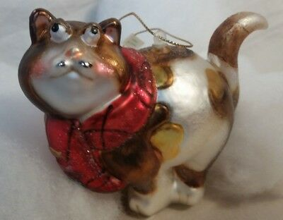 Comical Cat mercury glass Ornament