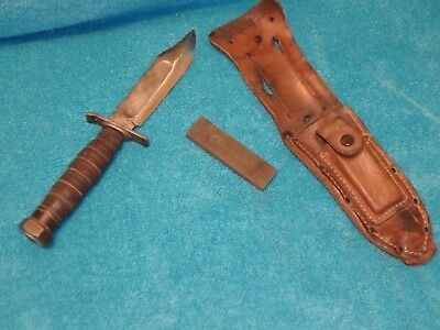 Vietnam War Era  Pilot's Survival Knife With Leather Sheath