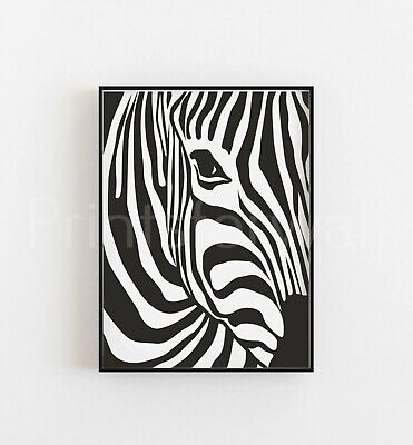 Pattern Zebra Animal Print Picture Poster Modern Fashion Black Wall Decor Art