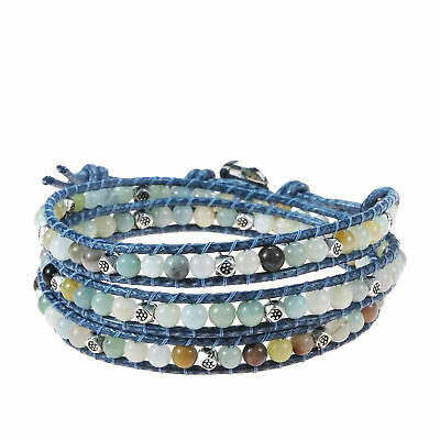 Multicolor Medley Multistone Triple Wrap Braided Leather Bracelet