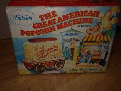 Sunbeam Great American Popcorn Machine Cart Wagon Corn Popper Vtg New in Box