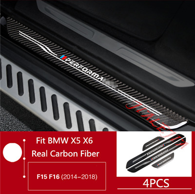 For BMW X5 F15 X6 F16 2014-2018 Carbon Fiber Outside Door Sill Guards Plate Trim