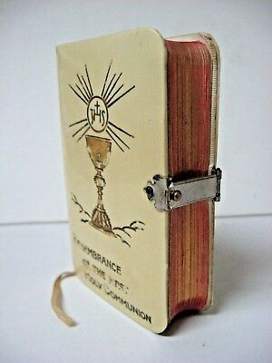 1915? Catholic Key of Heaven Celluloid Cover First Communion Prayer Book clasp