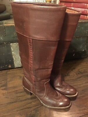 FRYE Vintage Womens Brown Leather 8516 Tall Pull On Riding High Heel BOOTS 8 AA