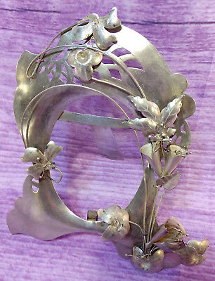 Vintage Mexico Sterling Silver Oval Picture Frame Easel Table Top Flowers Leaves
