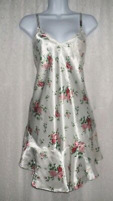 Vtg Victoria's Secret Gold Label Ivory Floral Nightgown Gown Negligee L
