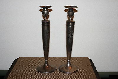 Antique Black Starr Frost Sterling Silver Candlestick Holders-Pair-#614