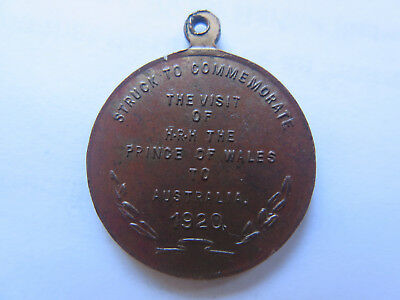 1920 THE VISIT of HRH PRINCE of WALES to AUSTRALIA SOUVENIR COPPER MEDALET