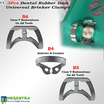 3PCs Dental Tissue Premolar Clamp Molar Rubber Dam Clamps Brinker Clamp Lab
