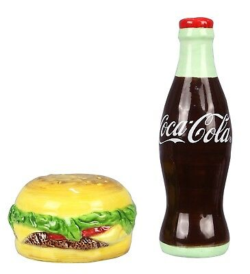 Bottle of Coca Cola and Burger Salt and Pepper Shaker Set Licensed Product