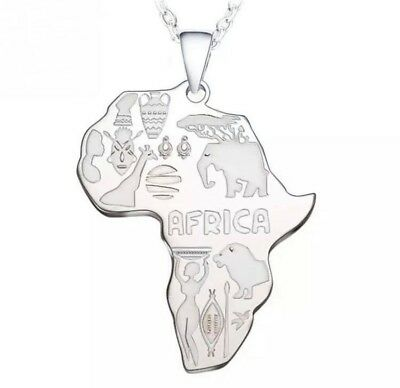 Unisex Silver Africa Map Necklace African Pendant Chain Bib Jewelry men women