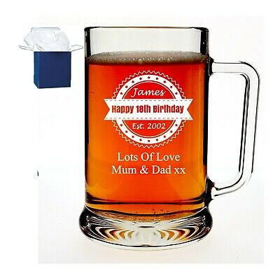 Personalised Engraved Pint Beer Glass Dimpled Tankard Fathers Day Birthday Gift