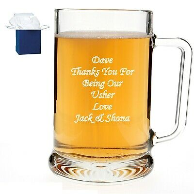 Personalised Engraved Pint Beer Glass with Gift Box Best Man Dad Daddy Pops Gift