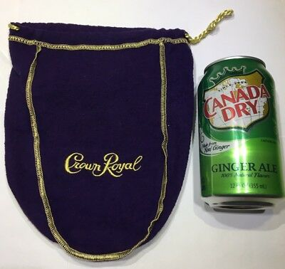 Crown Royal Purple Felt Bag Gold Stitching Drawstring Fifth 5th Size Whisky