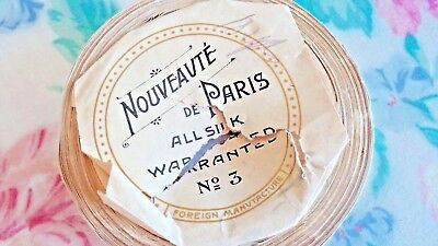 "1920's Nouveaute Paris SILK beige BLACK polka dot RIBBON 5/8"" French seamed 13"""