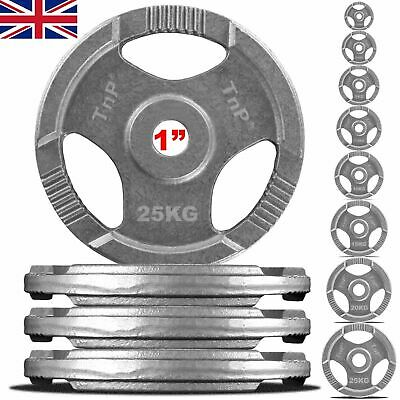 """1"""" TRI-GRIP Cast Iron Disc Weights Plate Barbell Weight Fitness Gym 1.25 to 25"""