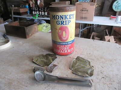 "Vintage Large Size 7"" Tall Monkey Grip Tube Repair Kit Can   Lot 18-50-5"