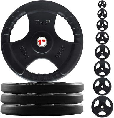"""1"""" TNP Rubber Encased Tri Grip Weight Disc Plates & Barbell Gym Workout Dumbbell"""
