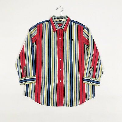 102d410020 Vintage Ralph Lauren Shirt Womens M   L Striped Red Yellow Retro 90S Chaps  Polo
