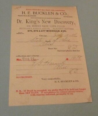 1904 H.E. Bucklen Dr. King's New Discovery Pills Advertising Invoice Chicago IL