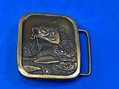 Vintage 1976 Indiana metal craft belt buckle freshwater fishing bass on hook