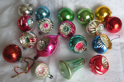 Lot of 18 Vintage Mercury Glass Christmas Tree Ornaments - Indents + More