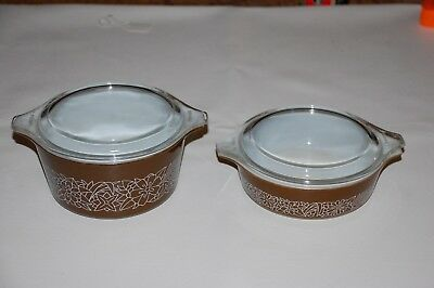 4 Pc. Vintage Pyrex Woodland Bowls  471-B & 473-B Brown Floral With Glass Lids.
