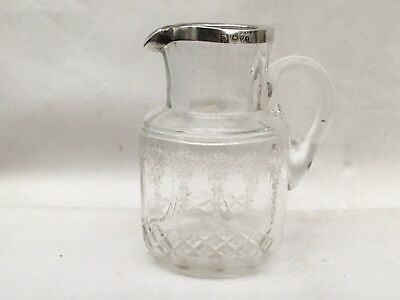 Excellent Antique Silver Rimmed Cut Glass And Etched Cream Jug, Chester 1912
