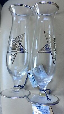 OES Order of the Eastern Star Fraternity GLASS / VASE Sterling Silver on Glass