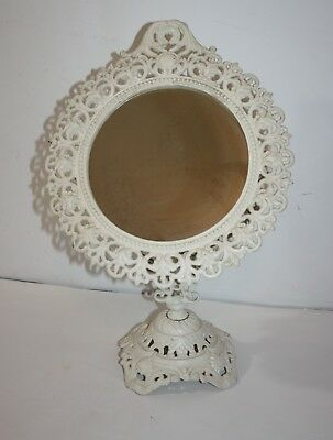 Vintage Cast Iron Ornate Swivel Vanity Mirror on Stand Iron Art 17""