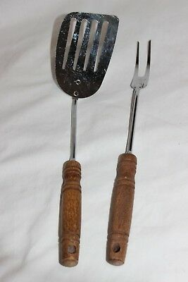 Vintage Lot of 2 Ekco Wood Handle Slotted Spatula Serving Fork Utensil Set USA