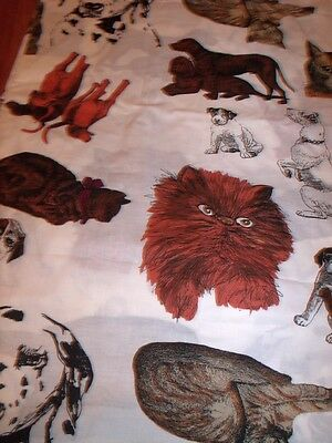 Vintage Large Motif CATS AND DOGS Fabric - For Applique, Crafts 1 Yard