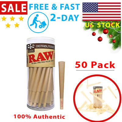 50 Pack RAW Classic King Size Pure Hemp Pre-Rolled Papers Cones Tips With Filter