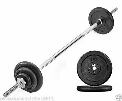 Barbell Weight Set with 7ft Spin-lock Barbell Bar & Cast Iron Weight Plates