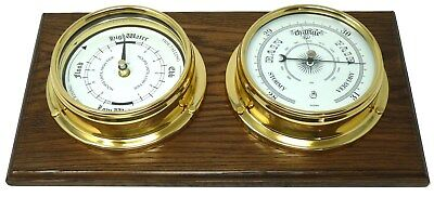 Handmade Brass Tide Clock And Barometer Mounted on an English Oak Mount