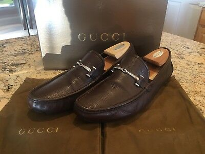 dfb3f7c6ca5 Gucci Road Rodeo Scuro Men s Brown Leather Loafers Slip On Shoes UK 11 - US  11.5